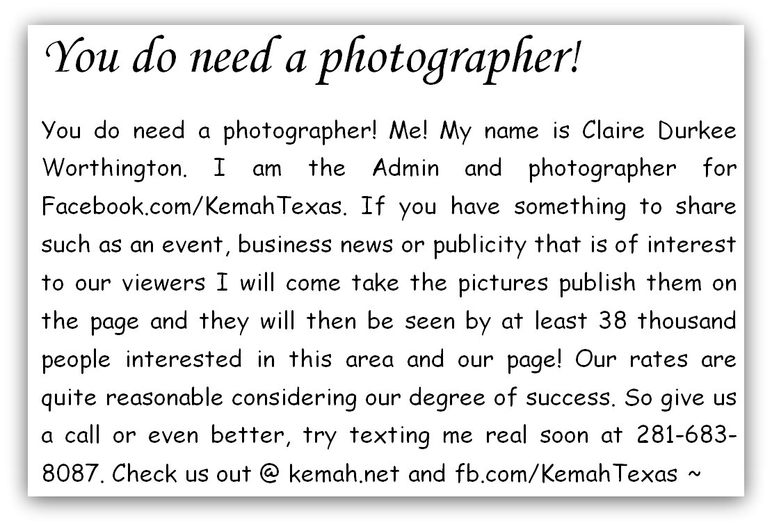 You do need a photographer! Claire Durkee